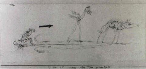 Paul Klee-Hexe, Ihre Tiere Entsendend-1924