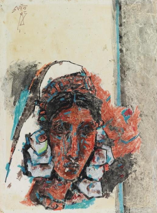 Maqbool Fida Husain-Untitled (Kashmiri Woman)-