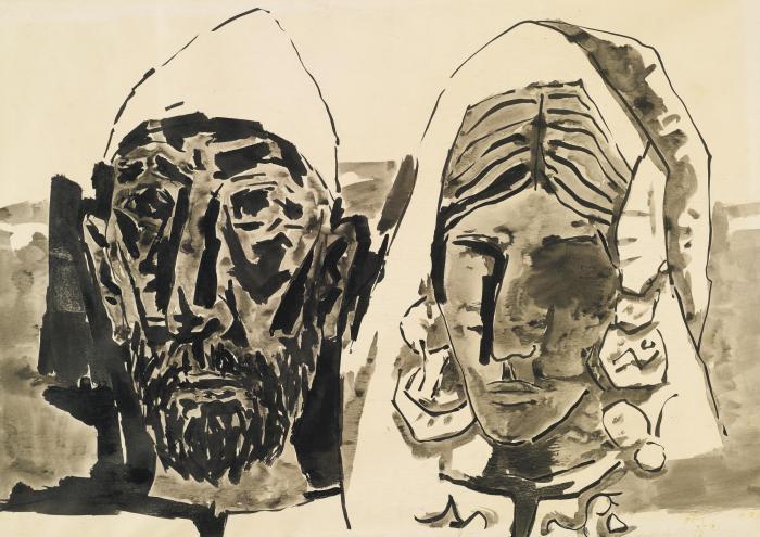 Maqbool Fida Husain-Untitled (Kashmiri Couple)-1966