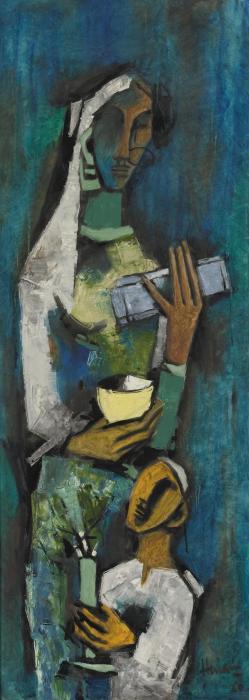 Maqbool Fida Husain-Untitled (Mother and Child)-1960