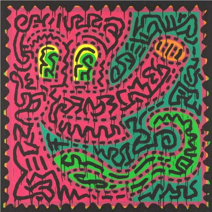 Keith Haring-Keith Haring - Untitled Fuschia and Green-1984