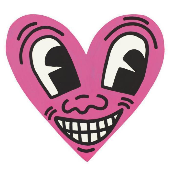 Keith Haring-Keith Haring - Pink heart face-1984