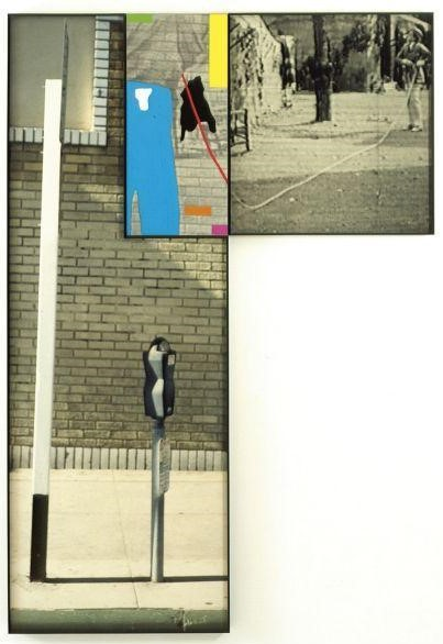 John Baldessari-The Overlap Series: Signpost and Parking Meter (with Two People Connected by Rope)-2001