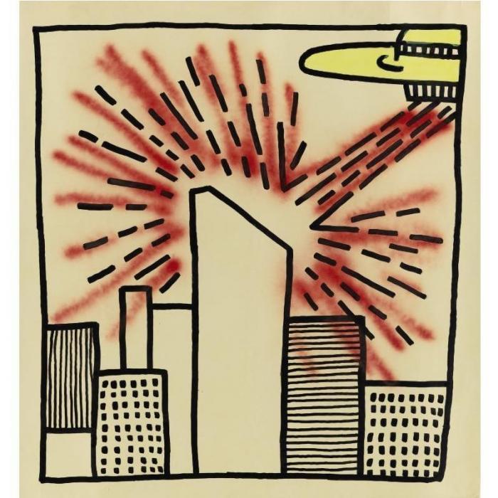 Keith Haring-Keith Haring - Spaceship with Ray-1980