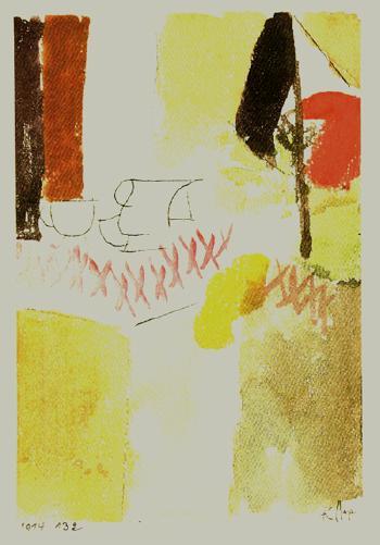 Paul Klee-Fruhstuck Mit Der Deutschen Flagge-1914