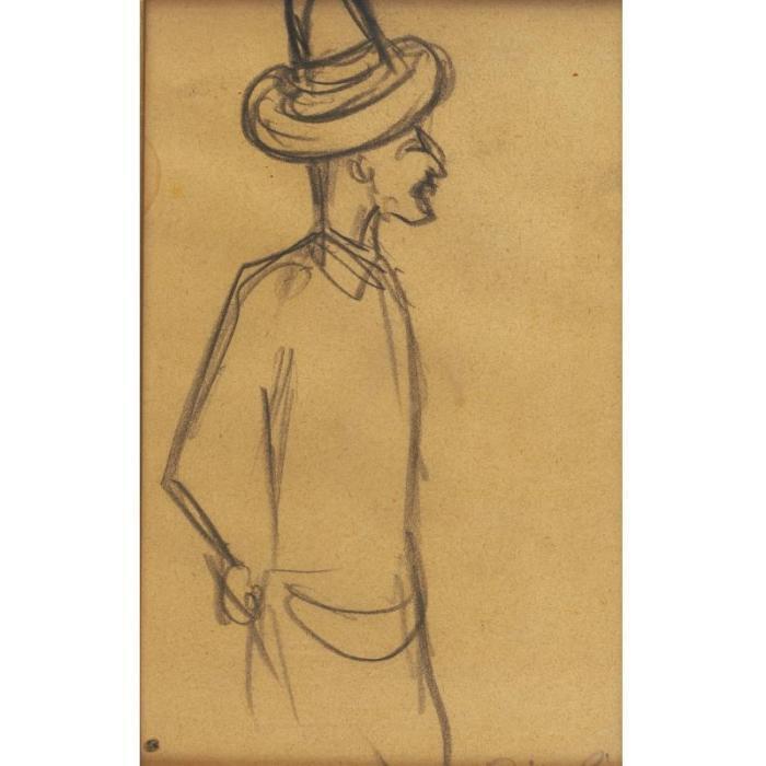 Diego Rivera-Standing Man wearing a Hat-