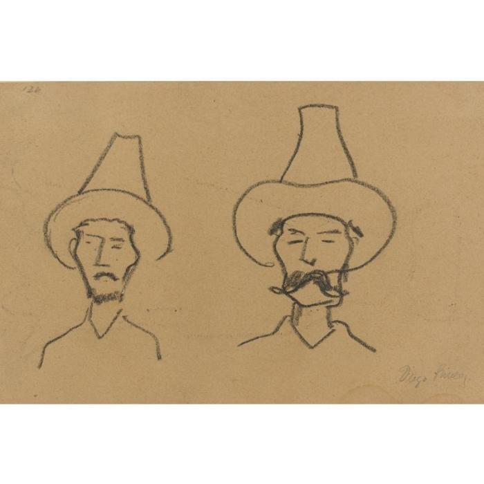 Diego Rivera-Two Men with Hats-
