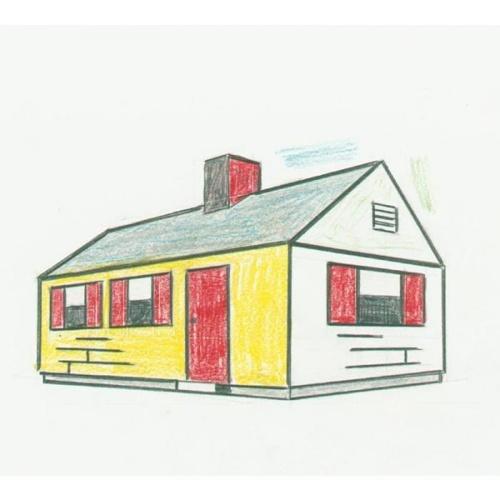 Roy Lichtenstein-House with gray Roof-1997