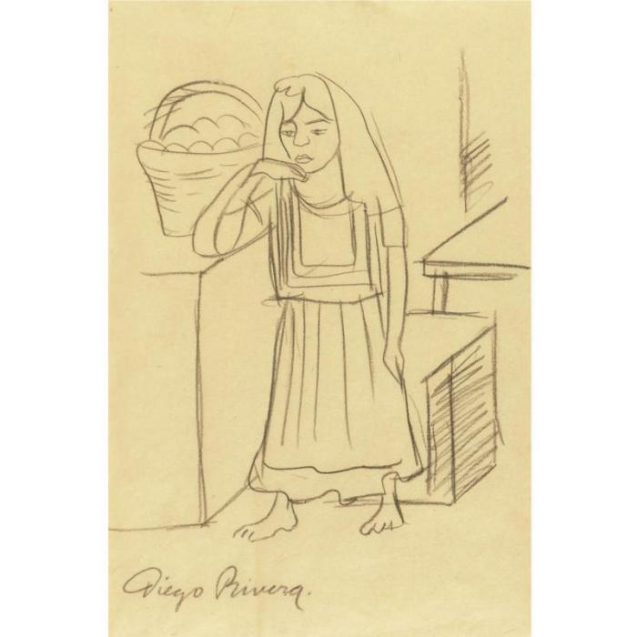 Diego Rivera-Apunte de tehuana con canasta defrutas-1923