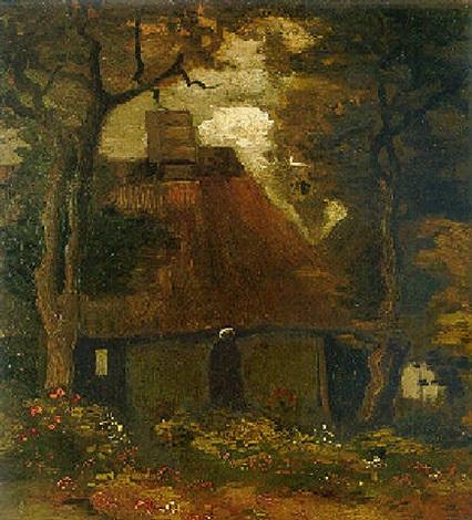 Vincent van Gogh-La chaumiere et une paysanne sous les arbres-1885