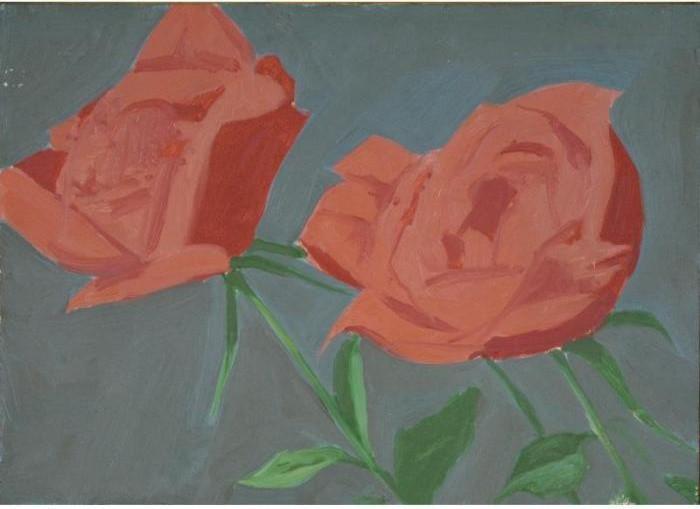 Alex Katz-Red Roses on Grey-1967