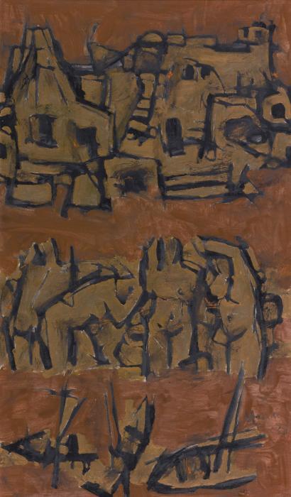 Maqbool Fida Husain-Untitled (Benares Ghats)-1960