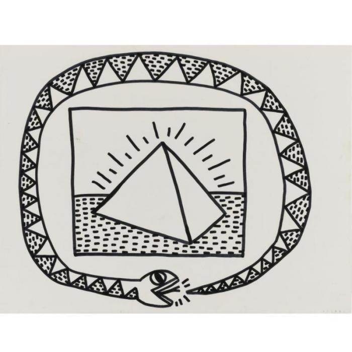 Keith Haring-Keith Haring - Snake and pyramid-1981