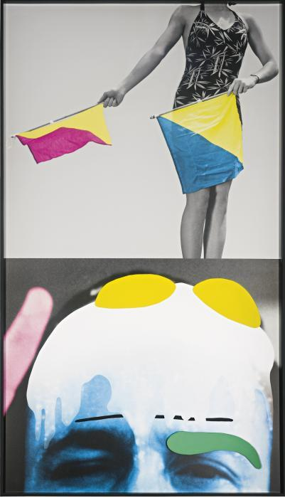 John Baldessari-Raised Eyebrows / Furrowed Foreheads: Woman (With Semaphore Flags)-2009