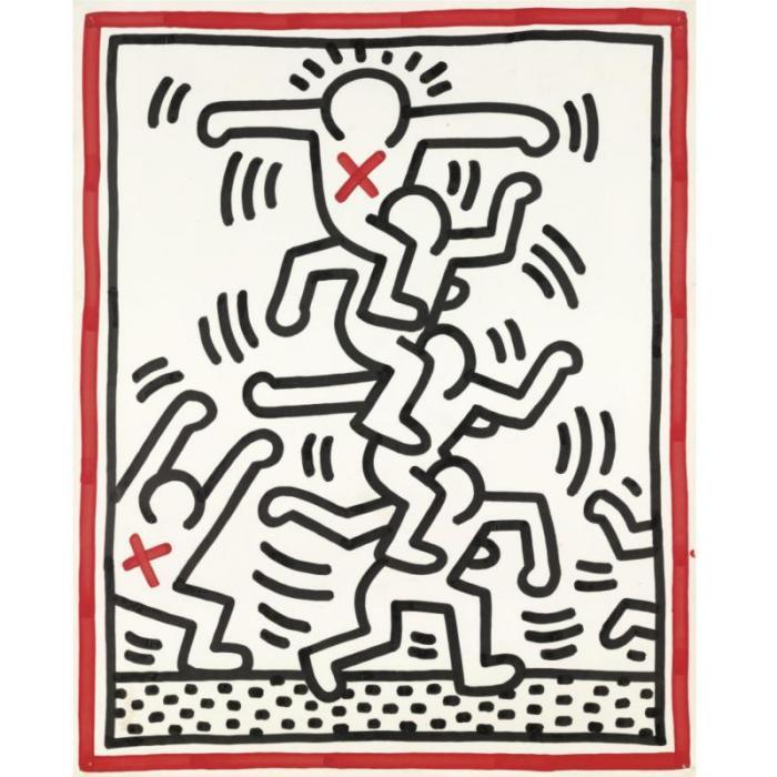 Keith Haring-Keith Haring - 4 figures on Shoulders-1984