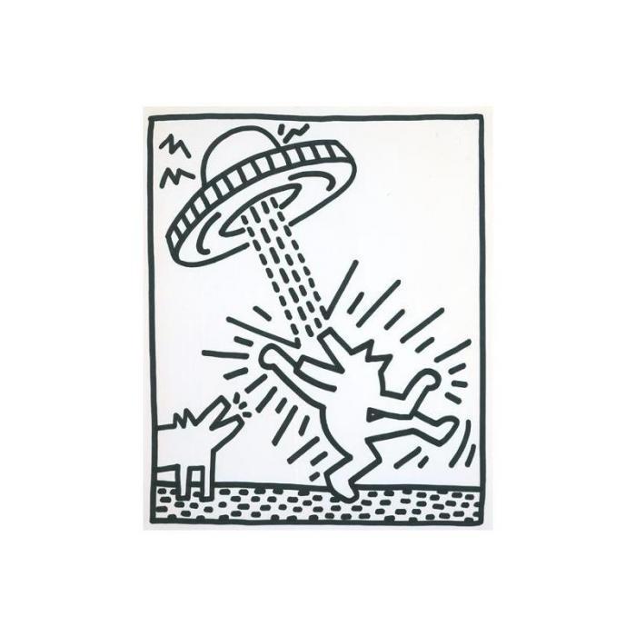 Keith Haring-Keith Haring - Dog and Spaceship-1985