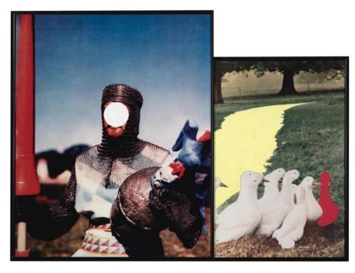 John Baldessari-Path, with Ducks (one red) and Knight-1990