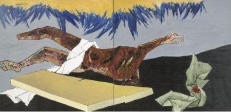 Maqbool Fida Husain-Untitled (That obscure Objet of Desire - Tombstone)-1980