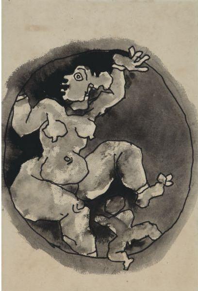 Maqbool Fida Husain-Untitled (Pagan Mother)-1980