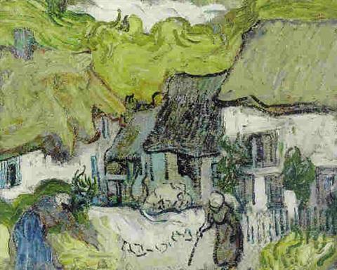 Vincent van Gogh-Les chaumieres a Auvers-1890