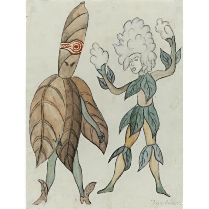 Diego Rivera-Tabaco y algodon (Tobacco and cotton)-1932