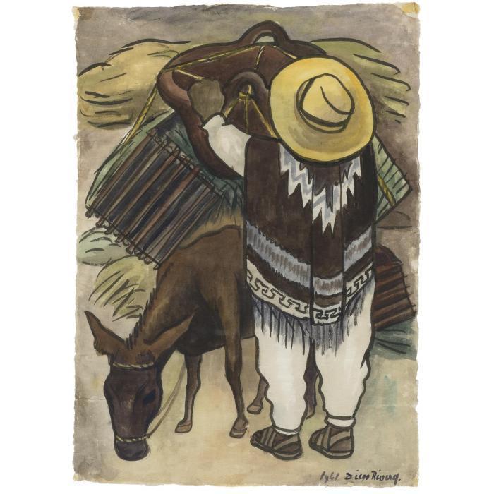 Diego Rivera-Hombre con burro y olla-1941