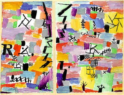 Paul Klee-Farbig Gebaut Mit Schwarzgraphischem Gegenstandlichem-1919