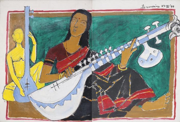Maqbool Fida Husain-Lady Playing a Veena-1989