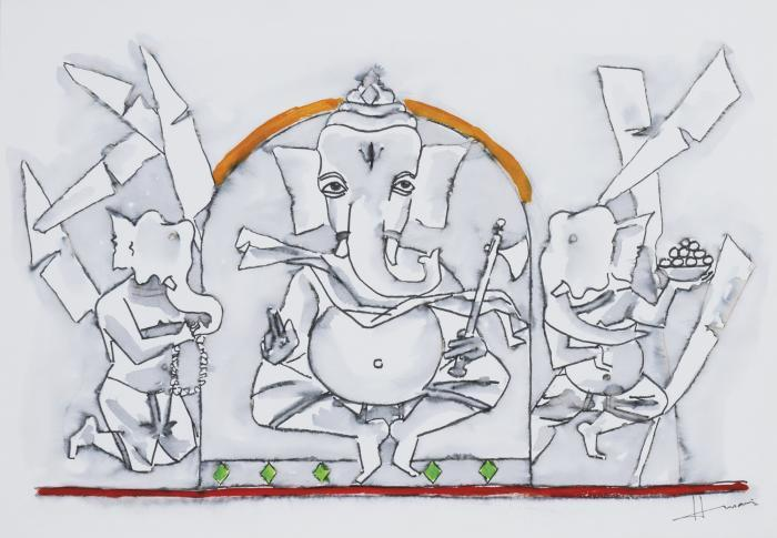 Maqbool Fida Husain-Untitled (Ganesh)-