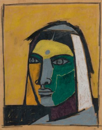 Maqbool Fida Husain-Untitled (Portrait of Chand Bibi)-1957