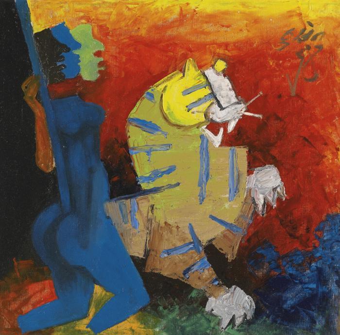 Maqbool Fida Husain-Untitled (Blue Figure And Tiger)-1964