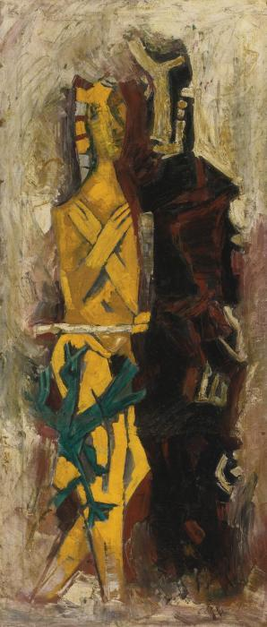 Maqbool Fida Husain-Untitled (Abhisarika)-1965