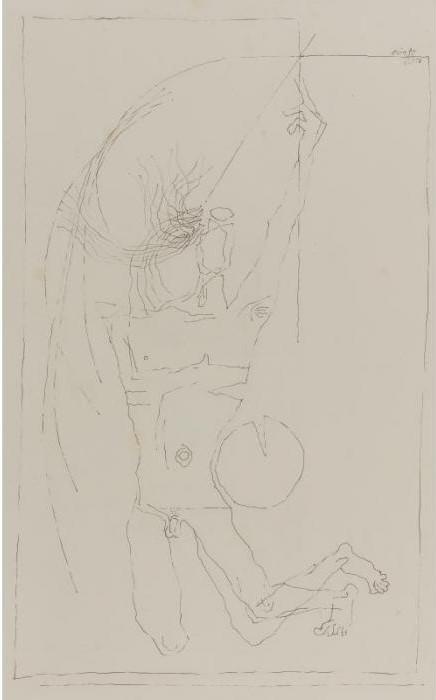 Maqbool Fida Husain-Untitled (Figure)-1973