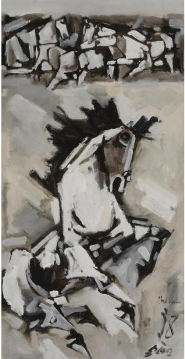 Maqbool Fida Husain-Horse with raised Foreleg-