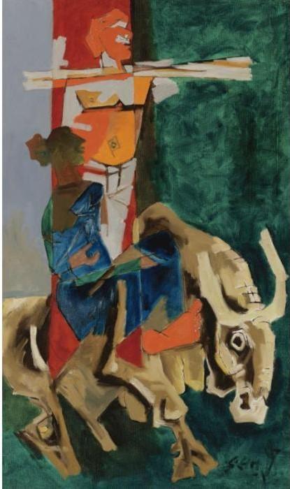 Maqbool Fida Husain-The Green Revolution-