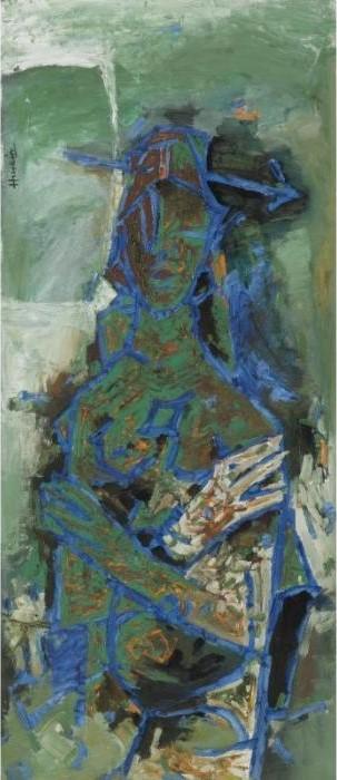 Maqbool Fida Husain-Green Woman-2001