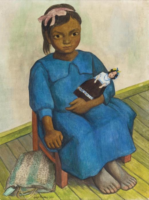 Diego Rivera-Nina con muieca-1939