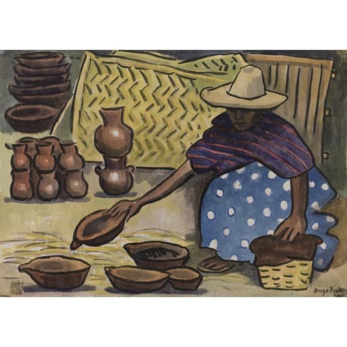 Diego Rivera-Vendedor de jarros - Pot seller-