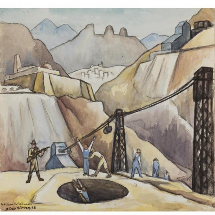 Diego Rivera-Gold Miners Being Searched as They Leave-1938