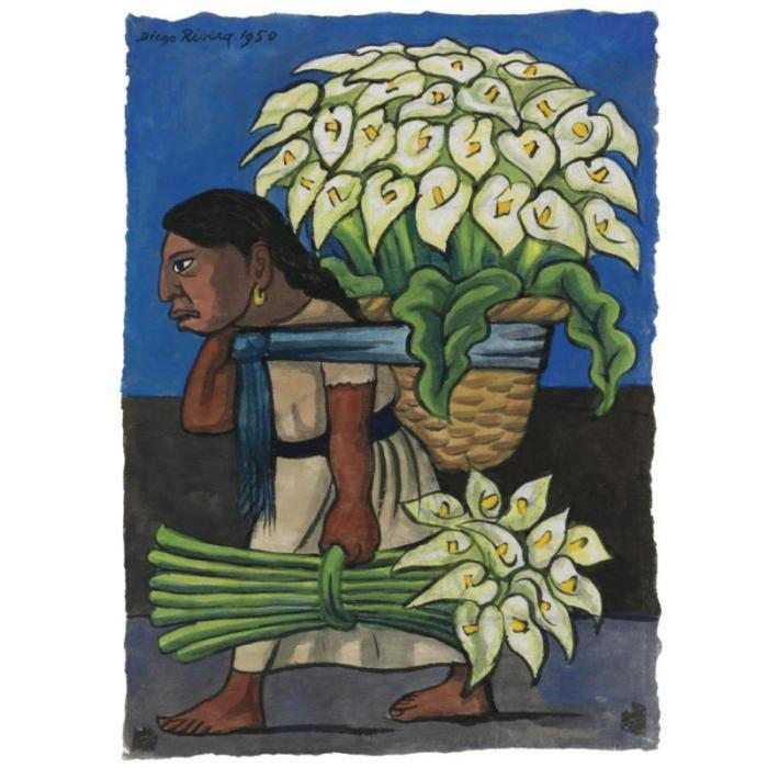 Diego Rivera-Woman with calla Lillies on her back-1950