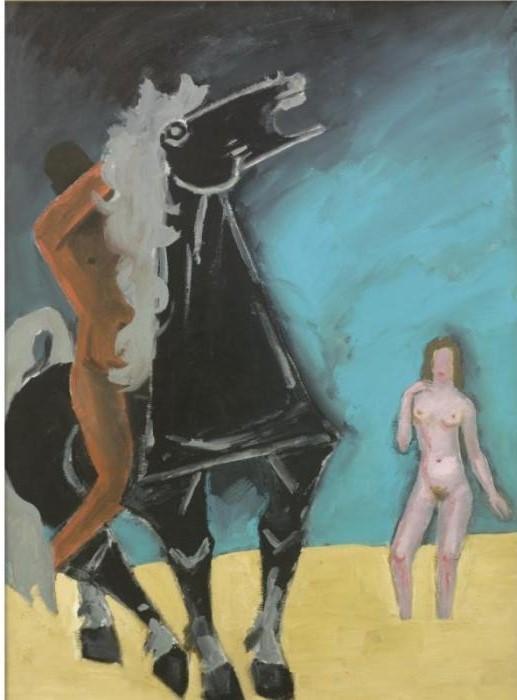 Maqbool Fida Husain-Horse, Rider and Nude-
