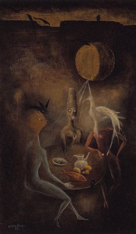 Leonora Carrington-Three women and crows at a table-1951