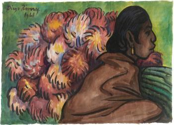 Diego Rivera-Mujer con Dalias-1941