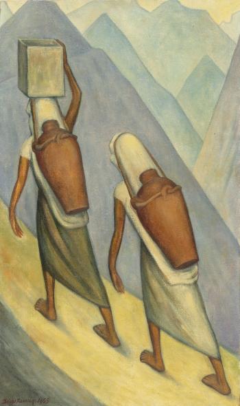 Diego Rivera-Aguadoras Otomies (Two Otomie Water Carriers)-1955
