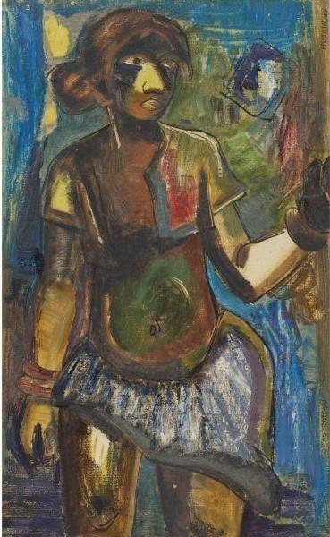 Maqbool Fida Husain-Tribal Girl-1950