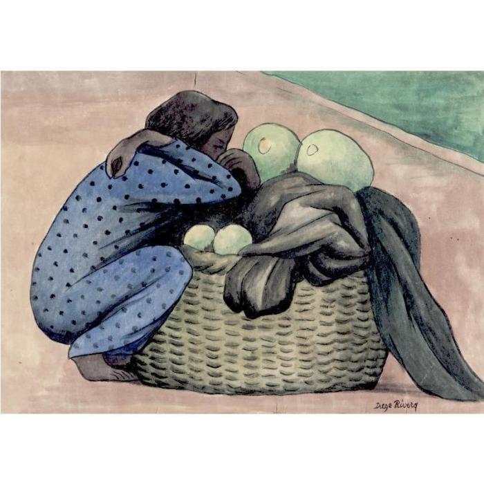 Diego Rivera-Mujer con canasta (Woman with big basket)-