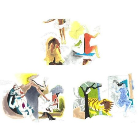Maqbool Fida Husain-Three Untitled Works-1983