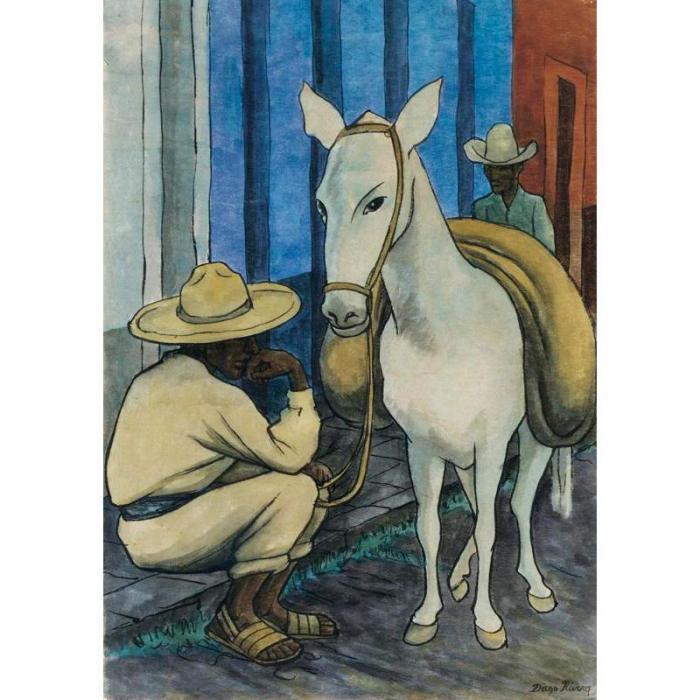 Diego Rivera-Dos hombres con mula-1935