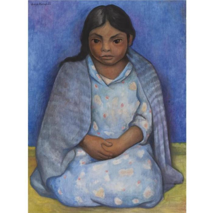 Diego Rivera-Nina con rebozo-1935