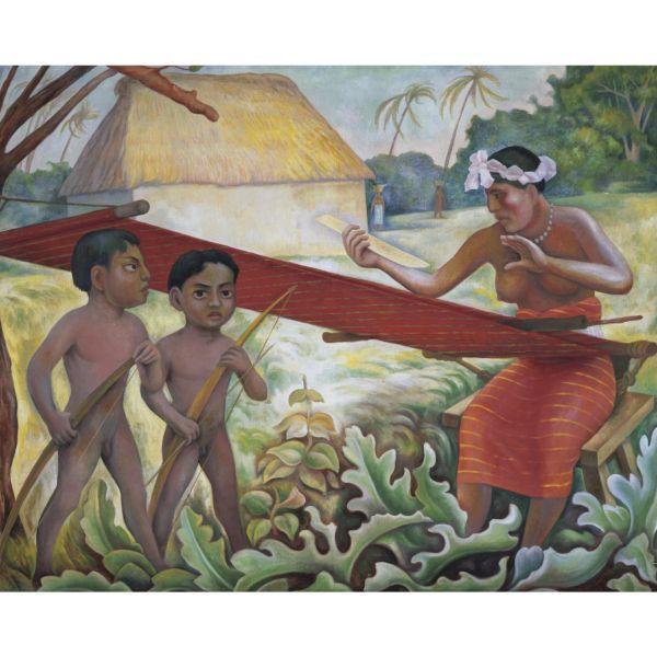 Diego Rivera-La Tejedora y los Ninos-1953